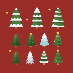 kind of christmas tree  vector flat design illustration set