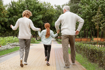 Little girl with grandparents walking in park