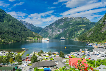 Geiranger fiord with boats