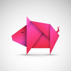 Obraz świnia origami wektor - fototapety do salonu