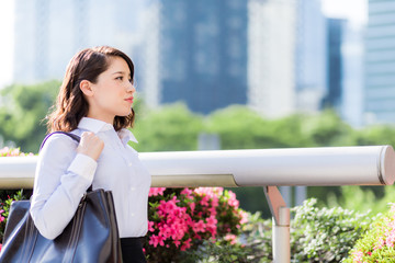 business woman in urban city.