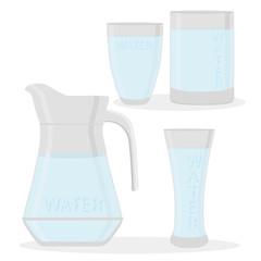 Vector illustration logo for set white water in glass