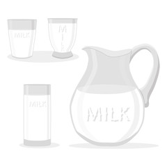 Vector illustration logo for set white milk in glass
