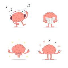 Set of cartoon smart brain relax. Listen music. Meditation. Reading newspaper. Play gambling cards.