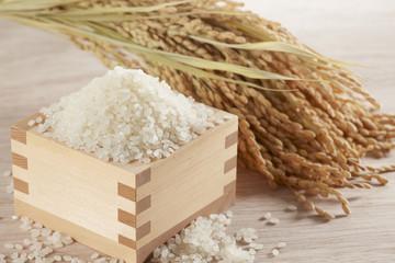枡に入れた米と稲穂