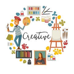 Creative poster with artist and tools to paint