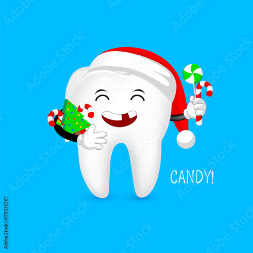 Tooth character with lost teeth, Santa hat and candies. funny ...