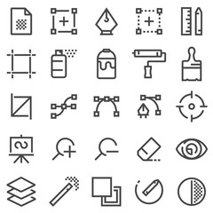 Graphic design, software and more, thin line icons set