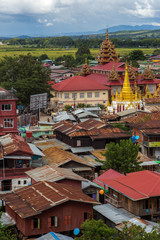 Myanmar, Inle lake,8 October,2017:  view from the top viewpoint on the roof and surroundings- the city of Nyaungshwe,river town at the Inle Lake