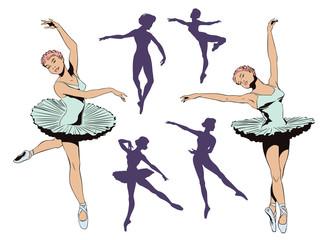 Set of ballet dancers. Stock illustration.