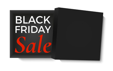 Black friday sale design. Opened black gift box, isolated on white background. Poster, brochure or banner template.