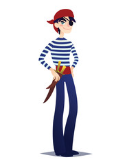 Pirate boy with dagger. Cute young man in style of Sea Corsair in red bandana and belt with weapon going for Costume party. Vector.