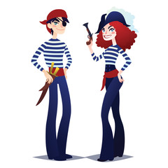 Couple of Pirates going for Costume party. Girl and boy in style of Sea Corsairs. Dangerous bandits with weapons. Vector.