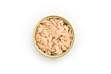 Canned tuna isolated, open tuna tin on a white background, Canned soy, Tuna packed in water