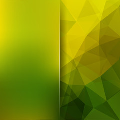 Geometric pattern, polygon triangles vector background in yellow and green ' tones. Blur background with glass. Illustration pattern