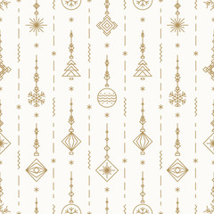 Christmas pattern with new years toy gold color consisting of xmas tree, ball, snowflake art deco line style for poster, sale, greeting cards, product promotion, web, decoration. Vector Illustration