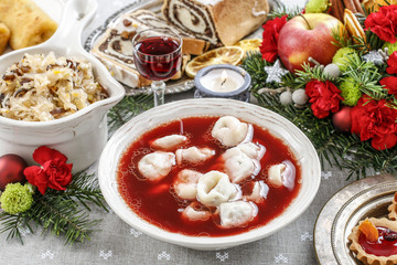 Beetroot red borsch with polish dumplings uszka