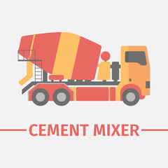 Concrete Mixer Truck. Flat  illustration.