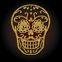 Day of the dead vector illustration of gold skull. Hand sketched for postcard.