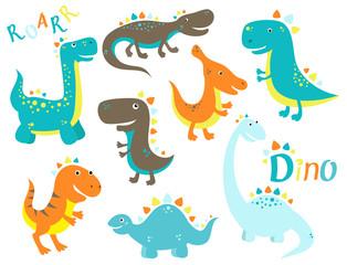 Collection of cute cartoon dinosauros