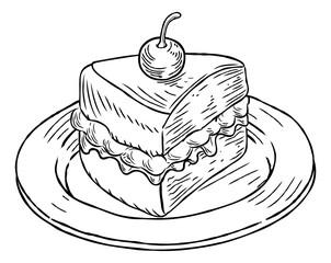 Cake Slice Vintage Retro Woodcut Style