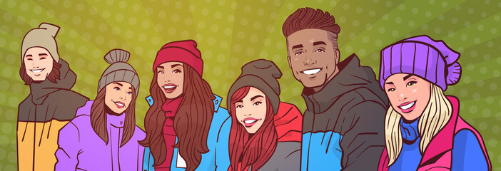 Group Of Young People Happy Smiling Mix Race In Winter Clothes Over Colorful Retro Style Background Horizontal Banner Vector Illustration