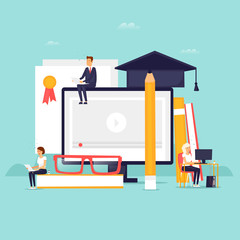 Online Education. Flat design vector illustration.