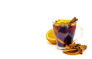 mulled wine on white isolated background. selective focus.
