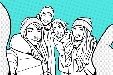 Sketch Of Young People In Winter Clothes Making Selfie Photo Over Colorful Retro Style Background Mix Race Man And Woman Happy Smiling Take Self Portrait Vector Illustration