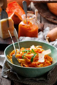 Alfredo pasta sauce with butternut squash, garlic and Parmesan .selective focus