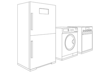 Household appliances - refrigerator, washing machine, oven. Outline flat icons