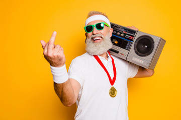 Fuck it! Crazy aged rude sporty funny sexy athlete grandpa in eyewear with recorder. Old school, swag, fooling around, gym, workout, technology, groove, stereo sound, funky leisure, chill, young
