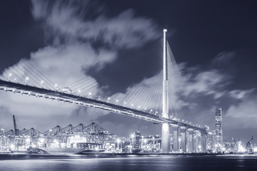 Suspension bridge and cargo port in Hong Kong city