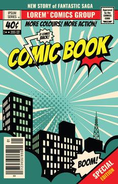 Retro magazine cover. Vintage comic book vector template