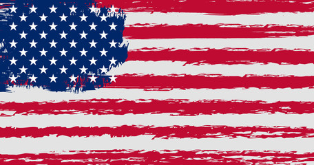 Flag of the United States of America in grunge style with original colors and proportions.