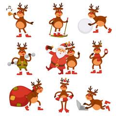 Christmas deer and Santa cartoon characters vector icons winter holiday greeting card