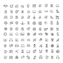 Office, science, technologies, space and communication line icons set
