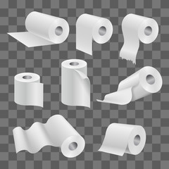 White toilet paper roll and kitchen towels isolated on transparent background