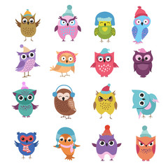 Foto op Plexiglas Uilen cartoon Funny winter owls birds cartoon vector characters