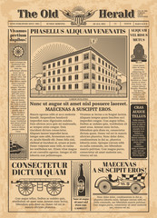 Vintage newspaper vector template with newsprint text