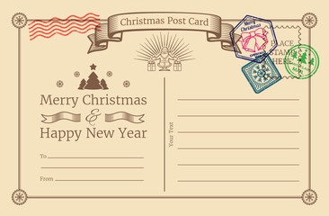 Vector old christmas holiday postcard with santa stamps