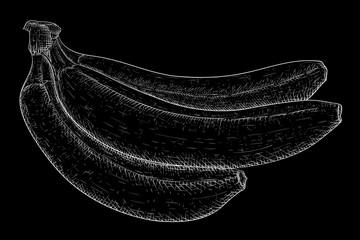 Bananas. White hand drawn sketch on black background