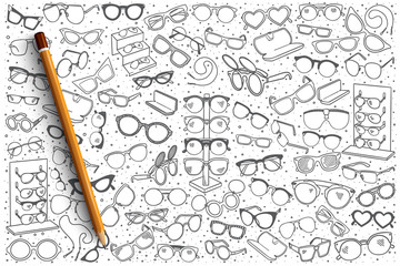 Hand drawn spectacles shop vector doodle set background