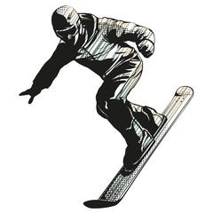 Falling snowboarder