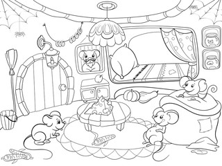 Children coloring cartoon house family mouse raster