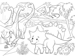 Cartoon Coloring for children dinosaurs in nature. Black and white raster illustration