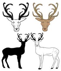 Hand drawn deers