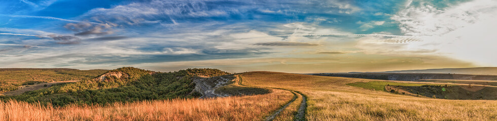 steppe road stretches into the distance to the rocks on the background of blue sky Wall mural