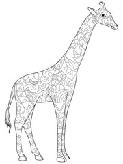 Giraffe coloring book for adults raster illustration