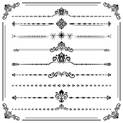 Vintage set of vector decorative elements. Horizontal separators in the frame. Collection of different ornaments. Classic patterns. Set of vintage black and white patterns
